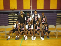 BFA's middle basketball team after their most recent win in an 8 - 0 record against SEED school of Maryland (44 - 40 BFA).